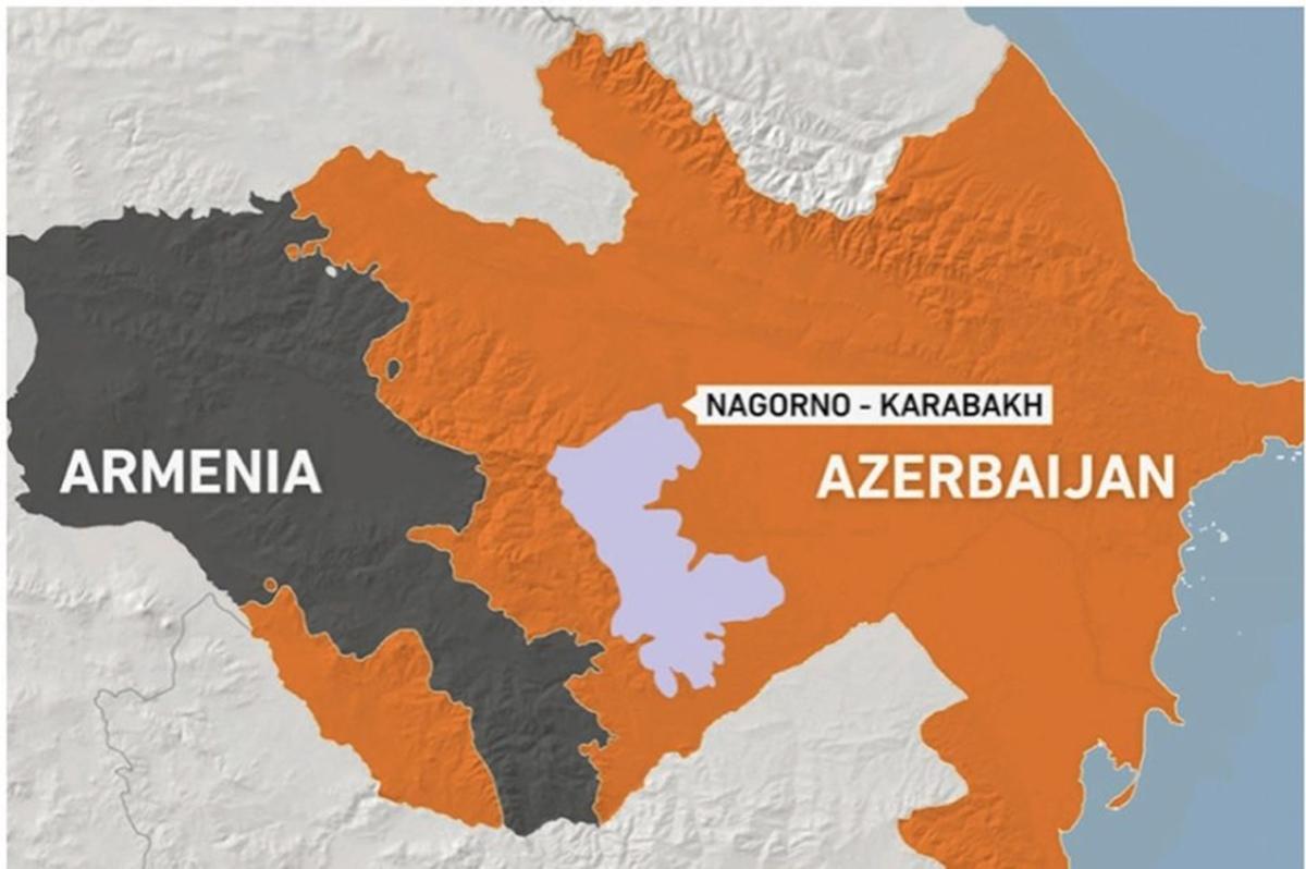 Berg-Karabach liegt innerhalb Aserbaidschans, hat jedoch eine große armenische Bevölkerung ©Illustration von Katherine Hardy